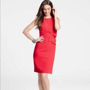 Ann Taylor Red Sleeveless Ruffle Dress